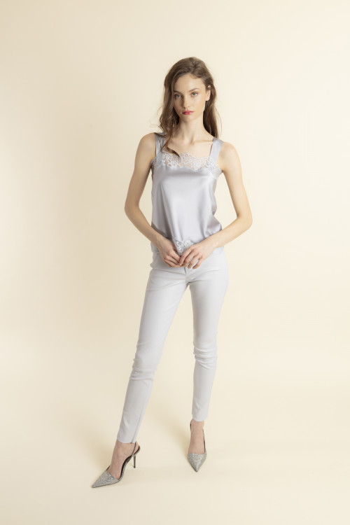 Small product image of LEGGING ZIPE EN CUIR STRETCH PERBAPTISTE  MISTGREY