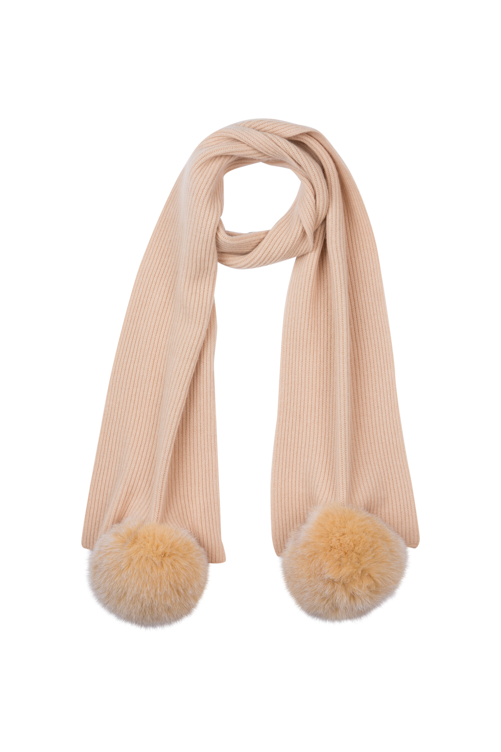 ALANO RIBBED KNIT SCARF WITH POMPOMS NUTS
