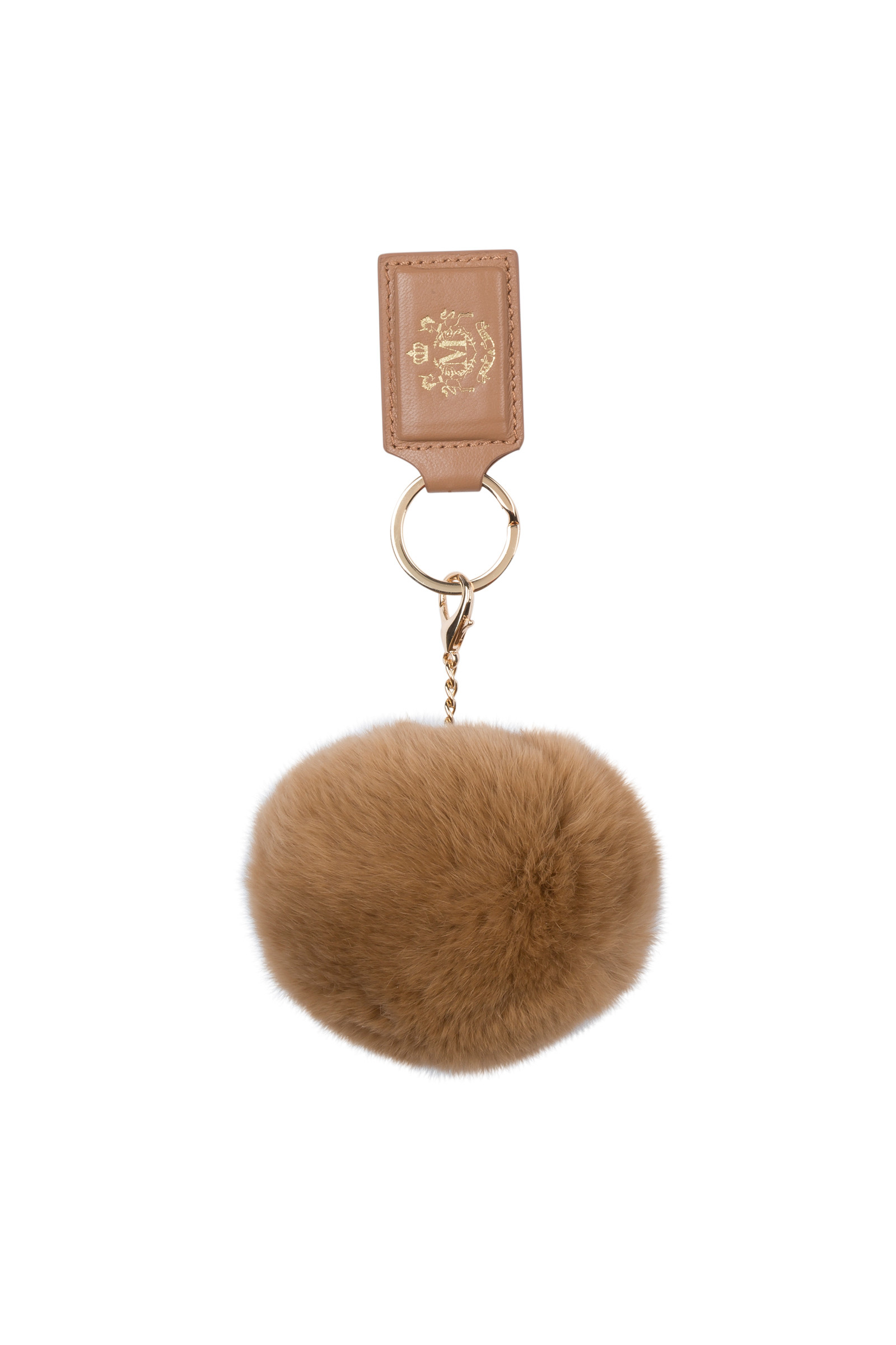 KEY RING ALICIO IN LEATHER AND FUR BEIGE