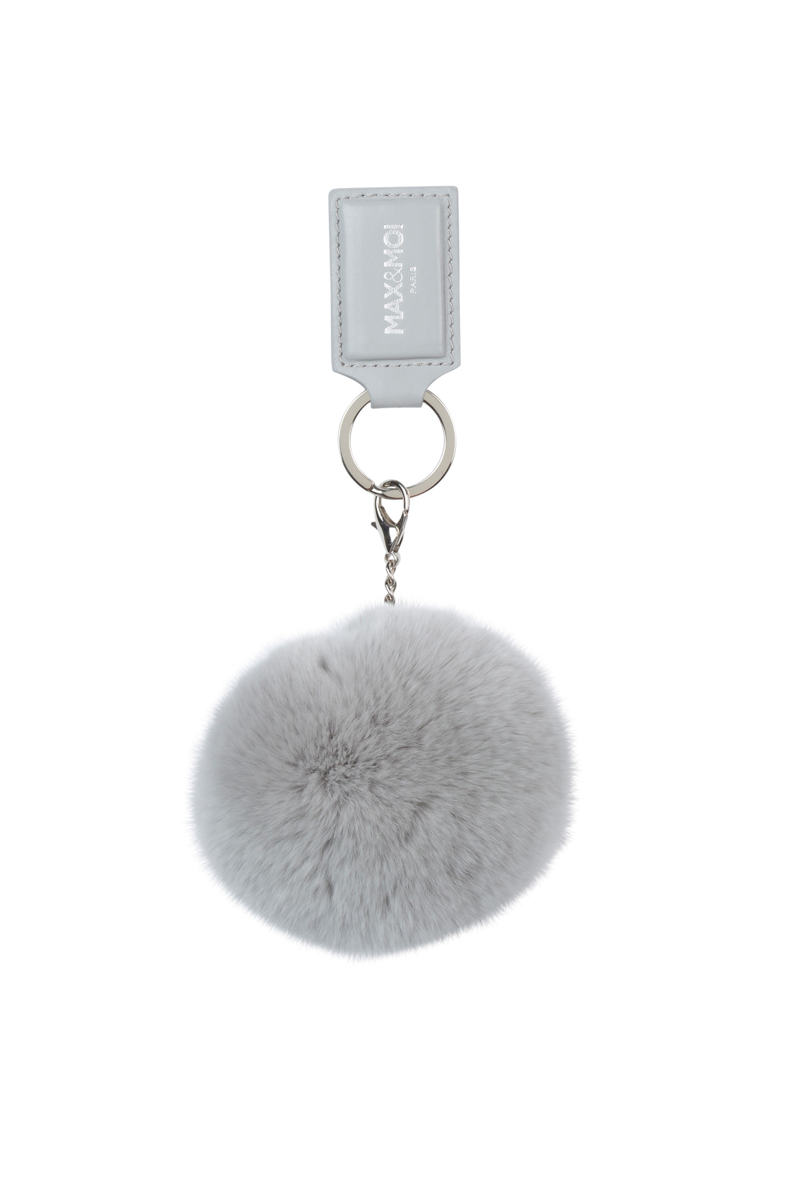 KEY RING ALICIO IN LEATHER AND FUR GREY