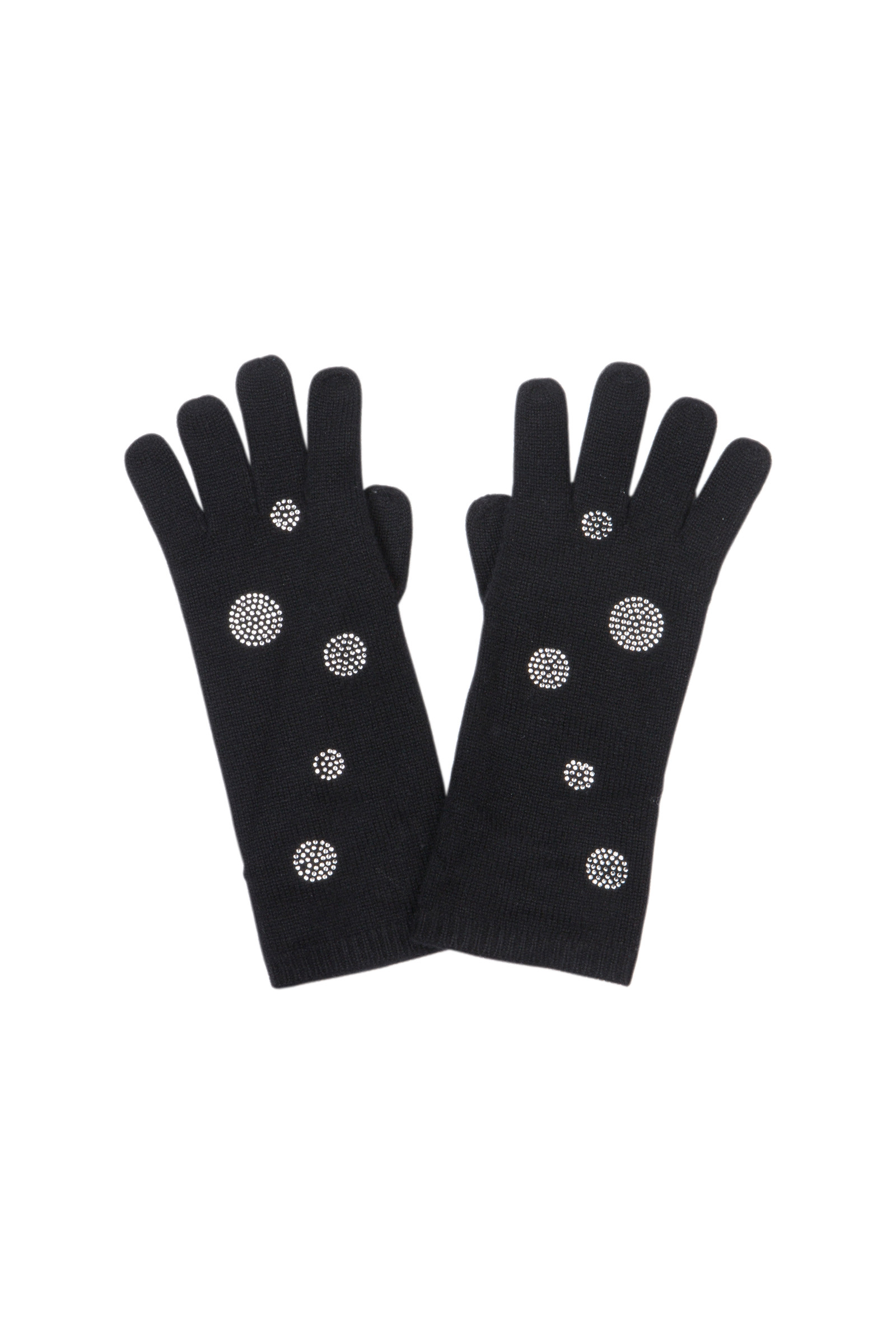 GLOVES IN CASHMERE WITH STRASS ALOYS  BLACK