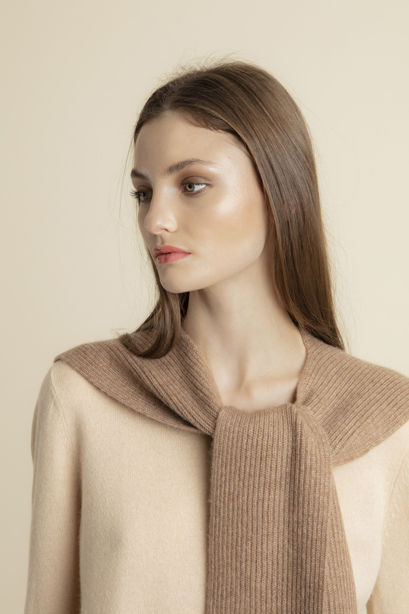 KNITTED SHAWL IN JERSEY KNIT AMORY  ICEDBROWN