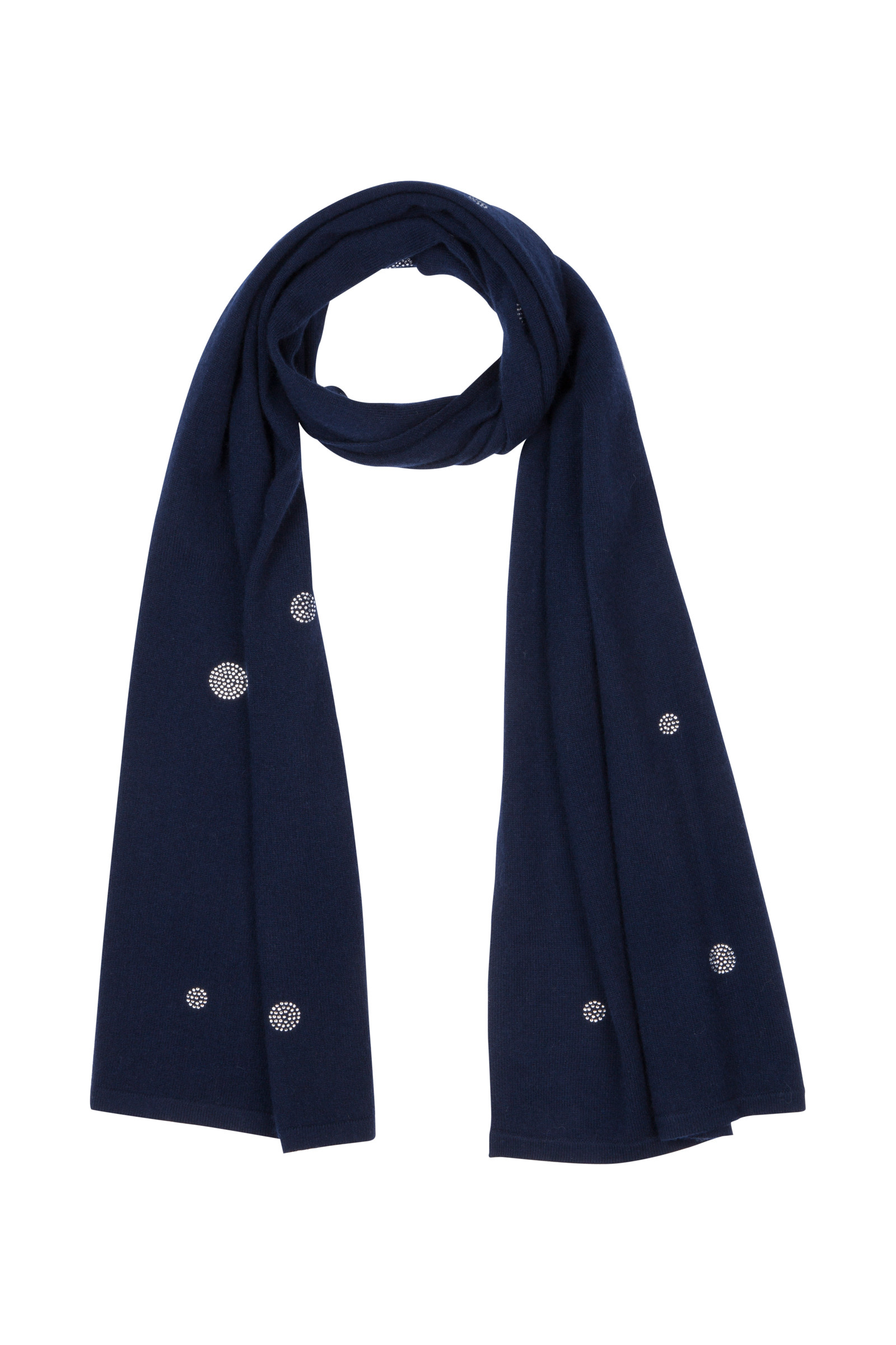 ARTLEY CASHMERE SCARF WITH STRASS NAVY
