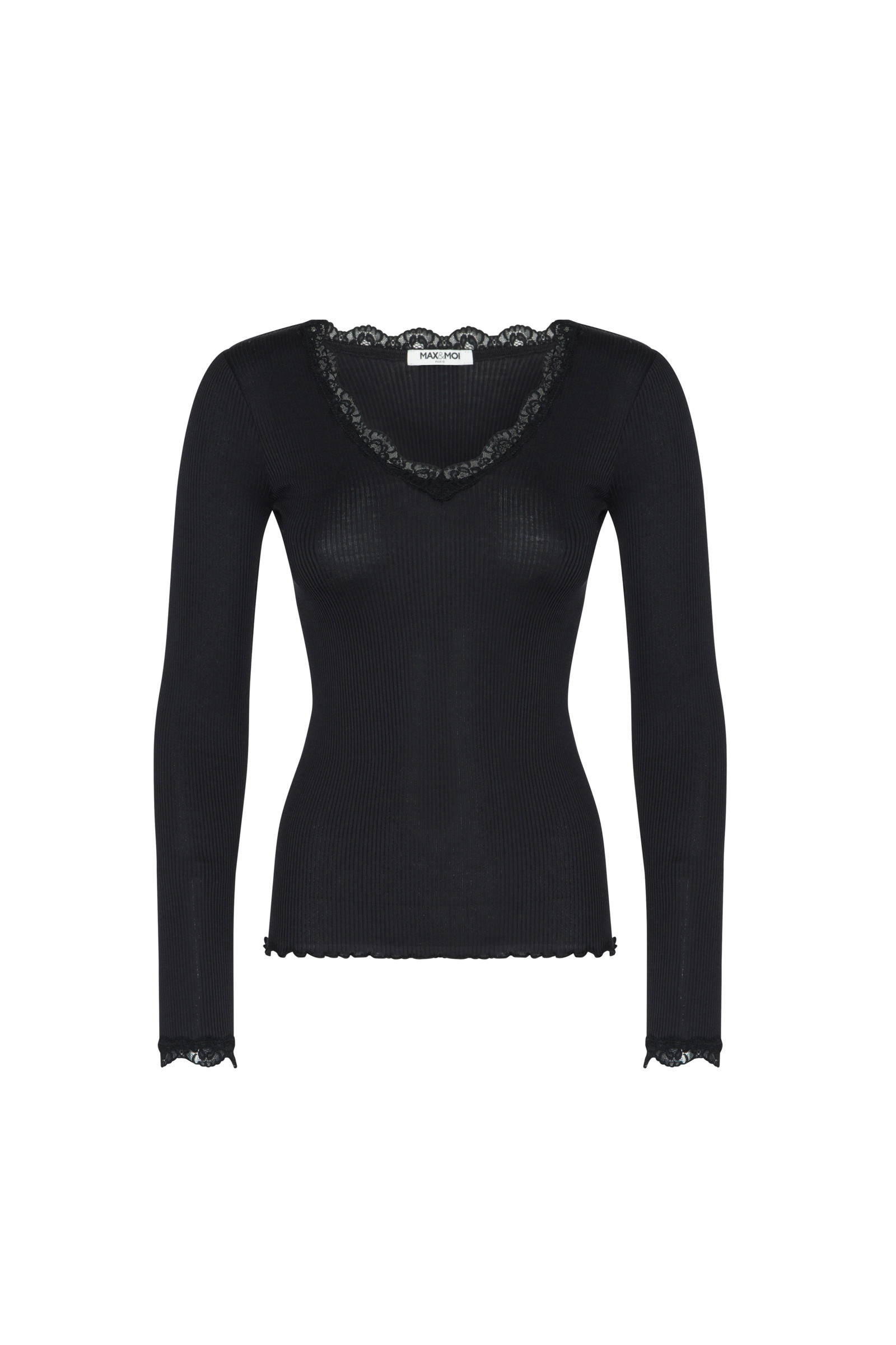 TOP RIBBED KNIT AND LACE TANGI  BLACK