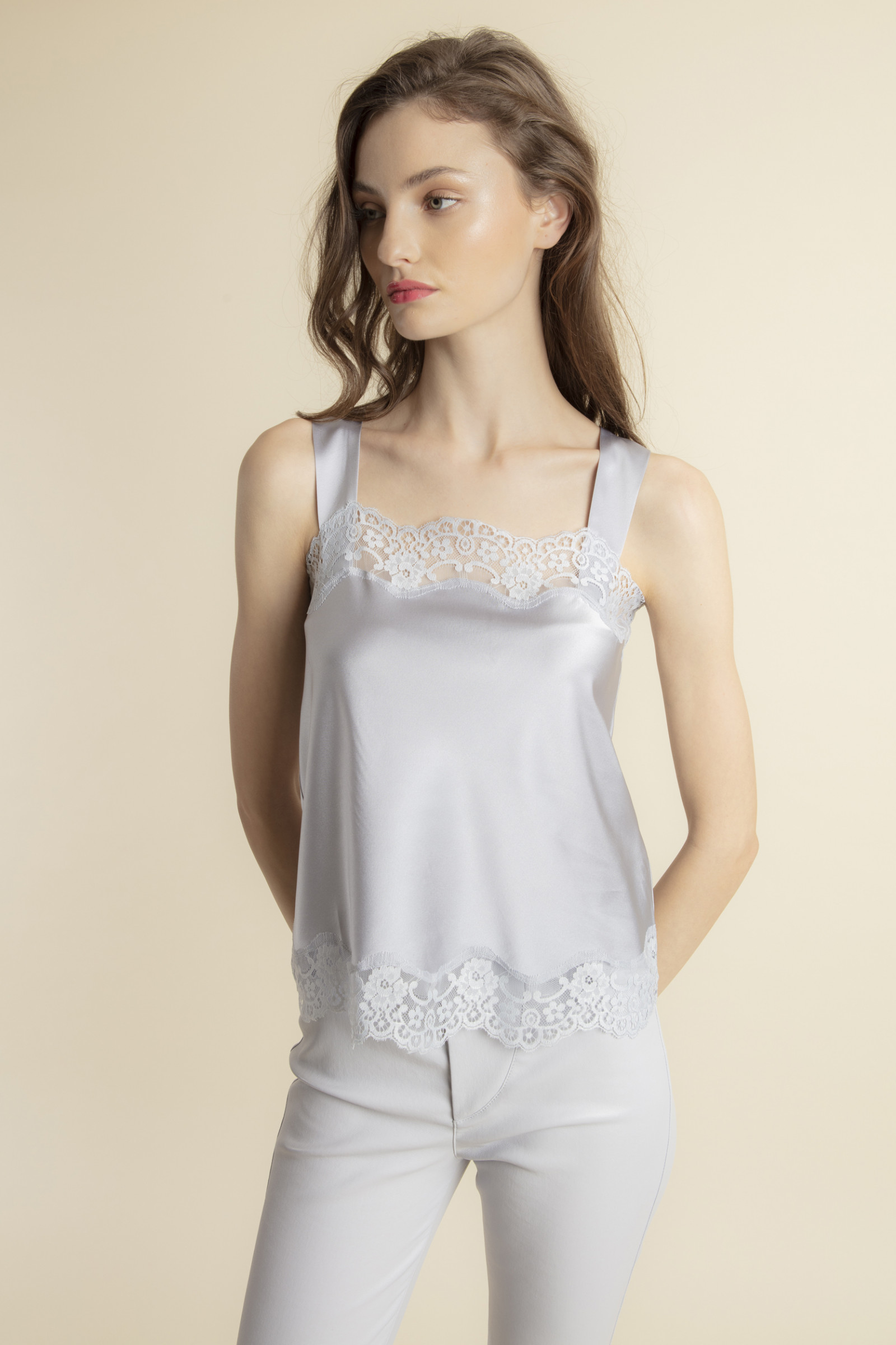 TOP IN SILK AND LACE TEDDY  MISTGREY