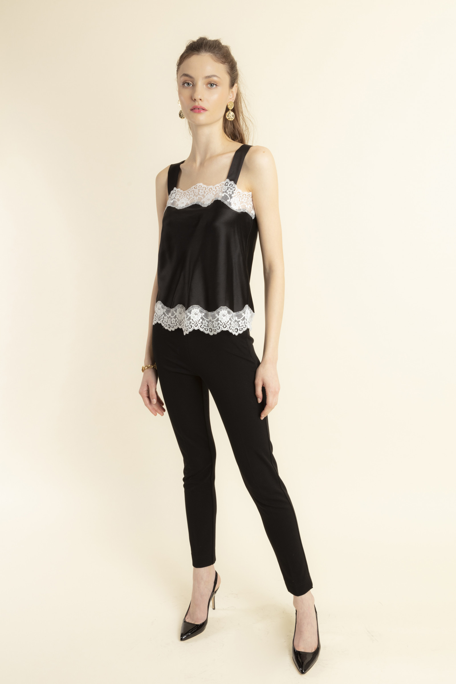 TOP IN SILK AND LACE TEDDY  BLACK&WHITE