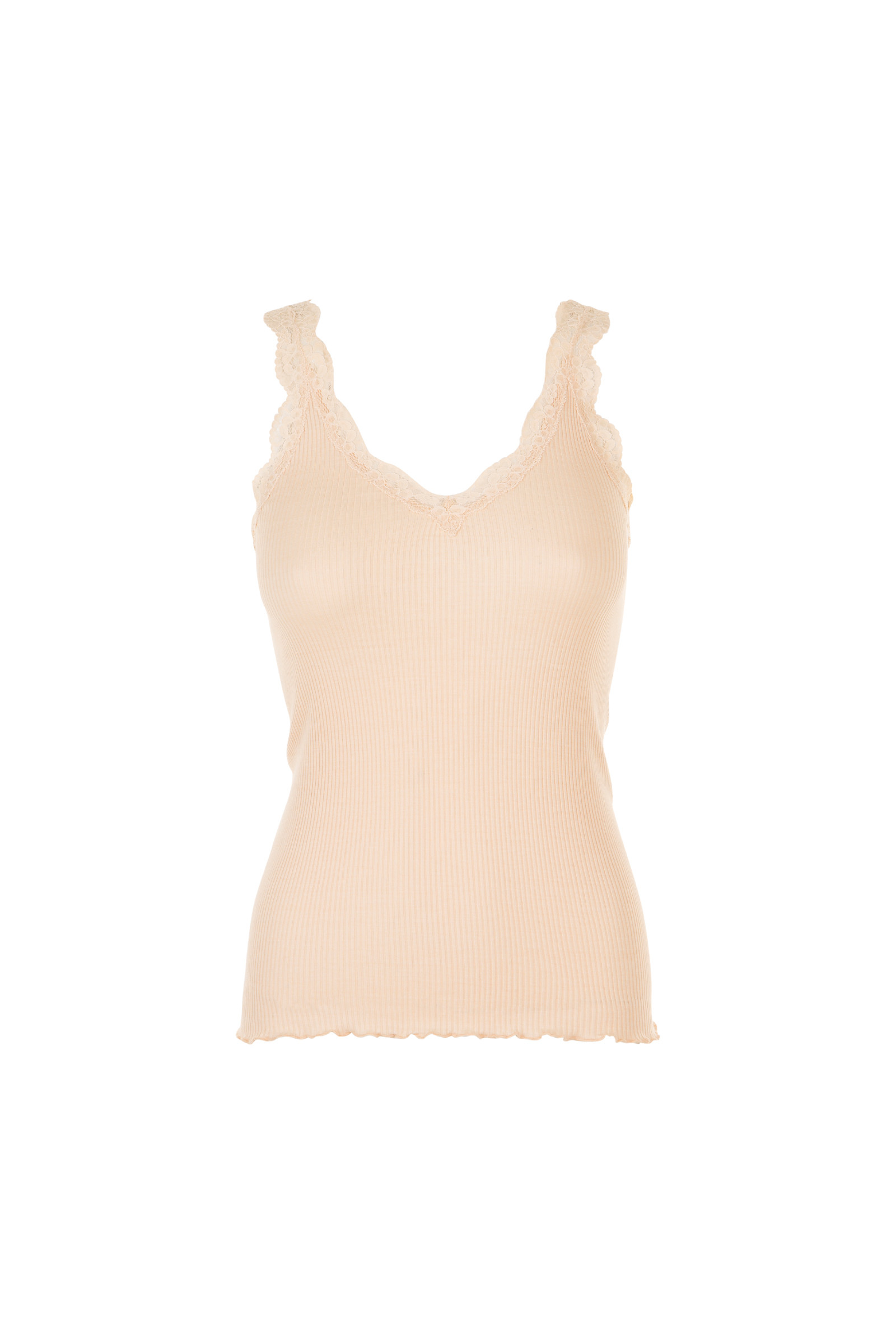 SLEEVELESS TOP IN RIBBED KNIT AND LACE THEO NUTS