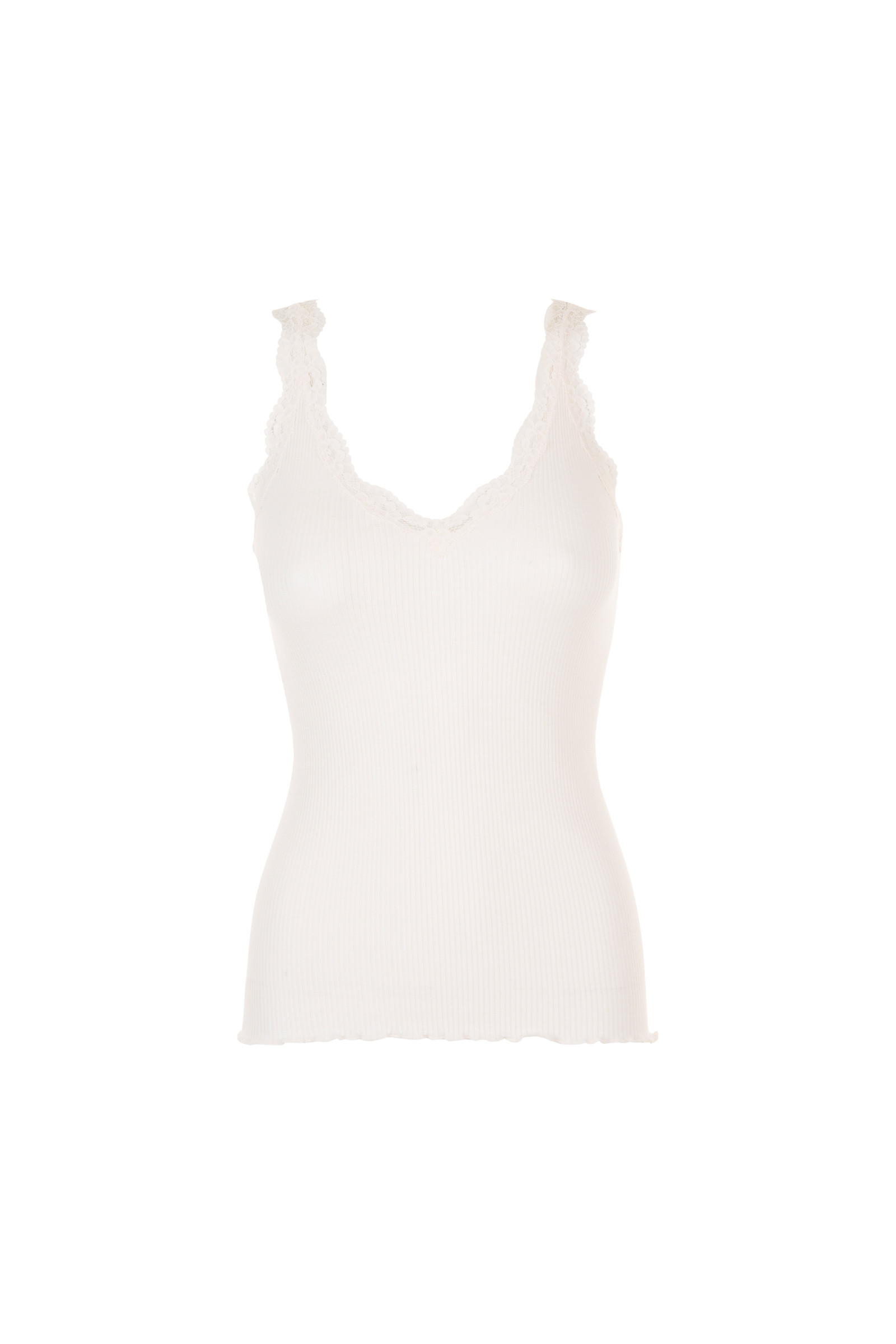 SLEEVELESS TOP IN RIBBED KNIT AND LACE THEO