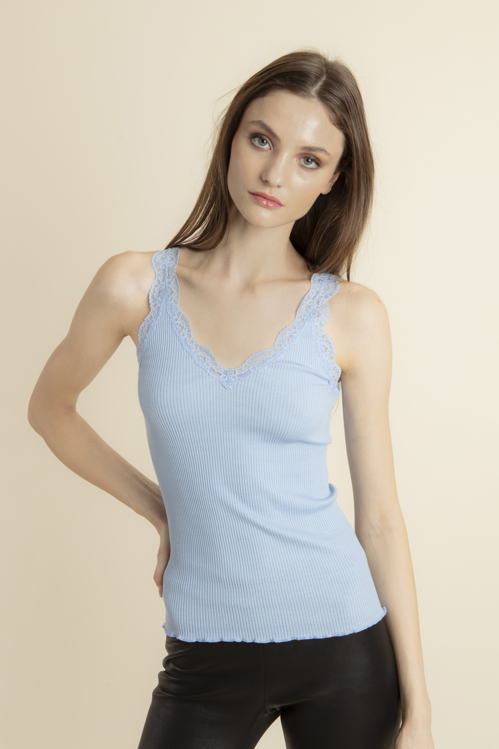 SLEEVELESS TOP IN RIBBED KNIT AND LACE THEO BLUEBEACH