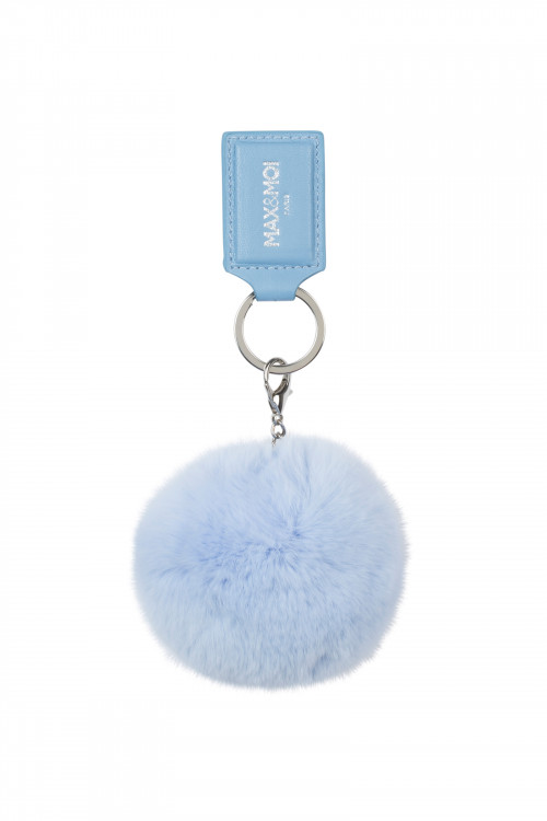 KEY RING ALICIO IN LEATHER AND FUR LIGHTBLUE