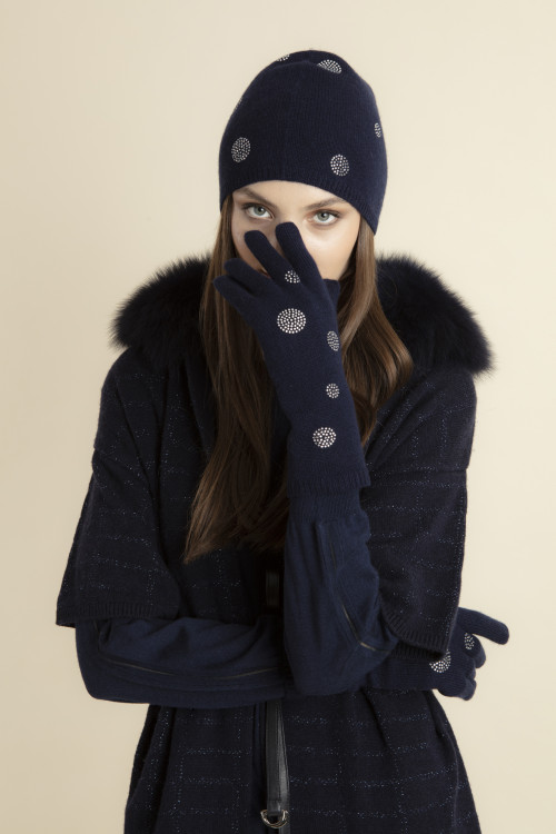 Small product image of CASHMERE BEANIE WITH RHINESTONES AUREL  NAVY