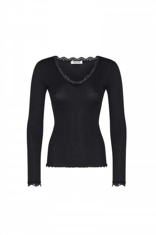 Small product image of TOP RIBBED KNIT AND LACE TANGI  BLACK