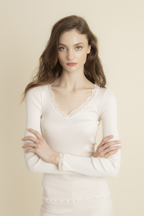 Small product image of TOP RIBBED KNIT AND LACE TANGI