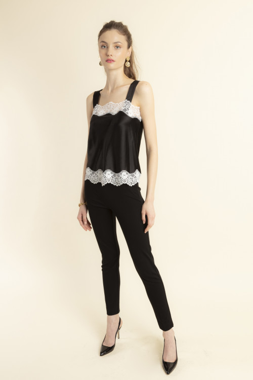 Small product image of TOP IN SILK AND LACE TEDDY  BLACK&WHITE