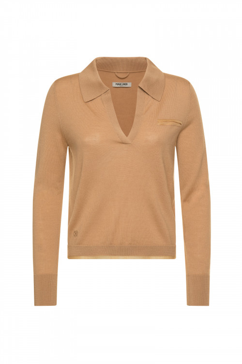 Small product image of SWEATER COL V PRUNE PECAN