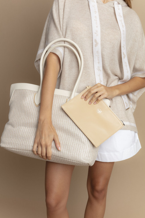 Small product image of LEATHER AND FABRIC BAG ARUTUA BEIGE